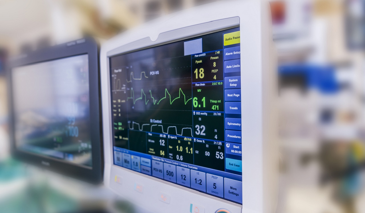Medical monitors in a hospital setting.