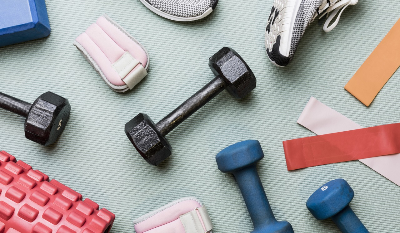 Tennis shoes, hand weights and other workout equipment.