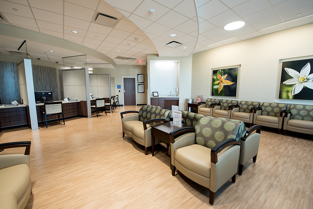 The lobby of the Breast Care Center at Cypress Hospital