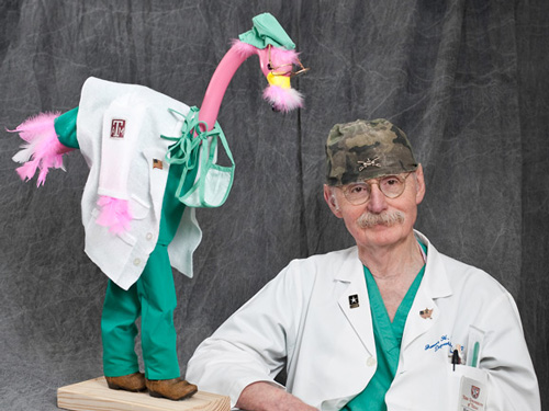 Dr. Duke with Flamingo Puppet