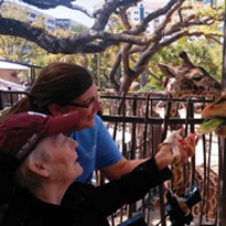 Doctor and patient feeding giraffe
